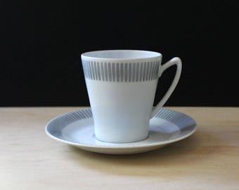 1950s Upsala Ekeby mid century modern mocha cup and saucer.