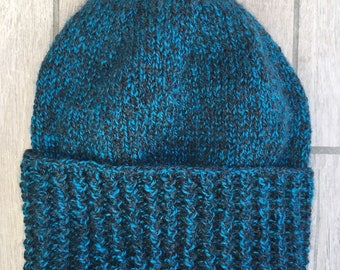 Teal and Black Hand Knit Beanie Hat