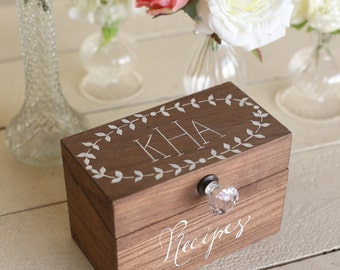 Personalized Wood Recipe Box with faux glass knob Monogrammed Bridal Shower Gift  (Item number MMHDSR10022)