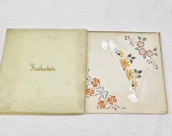 1930s Vintage NOS Linen Hankies with Stamped Floral Prints