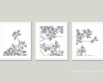 Autumn Tree Art Prints - Maple Tree Wall Art - Slate Gray and White - Modern Nature Art - Fall Decor - Tryptic Wall ArtAldari Art
