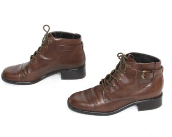 size 8 GRUNGE brown leather 80s 90s HIKING OXFORD lace up ankle boots