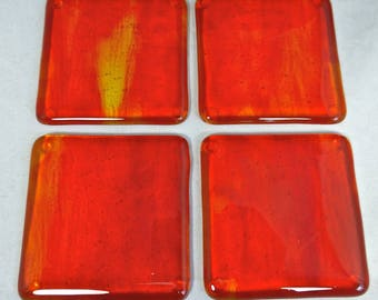 Fused Glass Coasters with fiery red, yellow and orange - set of 4