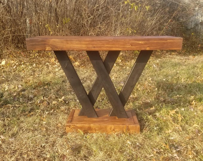 """Featured listing image: Farmhouse Console Table, Modern Double """"V"""" Entry Table, Rustic Handmade Wooden Sofa Table, Custom Country Media Console"""