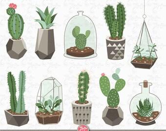 """Cactus clip art """"CACTUS CLIPART"""" pack, Succulent Clipart, Tribal , Cacti, Cactuses pots, Potted Plants, 11 images Png files 300 dpi. Ct005"""