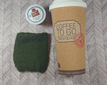 Travel Cup Cozy- Army Green Cozy