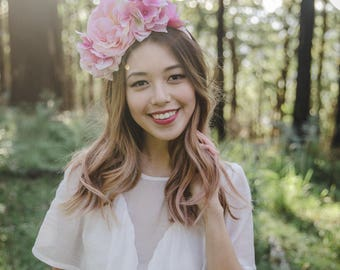 pink statement wedding flower crown // flower crown fascinator, spring racing flower crown, statement floral headpiece headband