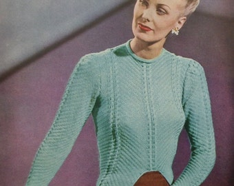 Vintage 1940s Stitchcraft March 1947 40s UK magazine original knitting patterns women's sweaters hats Fair Isle waistcoat boy's cardigan
