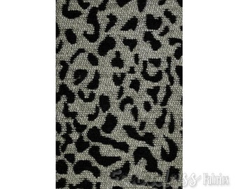 Leopard Black and White Upholstery Chenille Fabric per yard