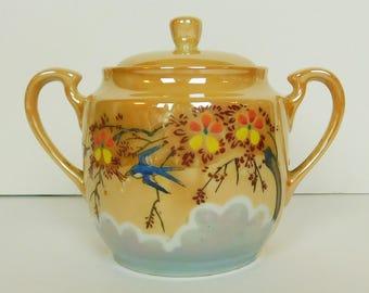 Made in Japan Lusterware Sugar Bowl Peach Blue Bird Tree Clouds 1950s
