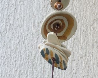 Wind chime with many symbols, Ceramic Wind Chime, Caravan gifts, Home Sweet Home, Beach house decor, Garden art, Sea