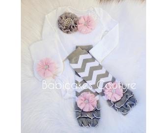 Newborn Take Home Outfit, Baby Girl Leg Warmer Outfit, Pink and Gray Baby Outfit, Pink and Gray Take Home Outfit, Newborn Photo Outfit