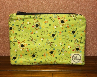 Pencil Pouch - Molecules - Green - Black - Black Zipper - Cosmetic Pouch - Makeup Bag - Storage Pouch - Purse Organizer - Back to School