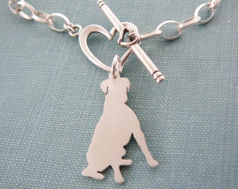 Boxer Dog Chain Bracelet, Sterling Silver Personalize Pendant, Breed Silhouette Charm, Rescue Shelter, Mothers Day Gift