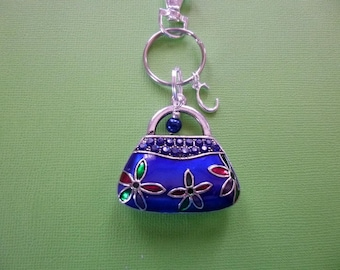 Purse Key Chain, Purse Charm Keychain, Personalized Purse Charm Key Chain, Purse Charm Zipper Pull, Purse w/Pearl and Initial Purse Charm