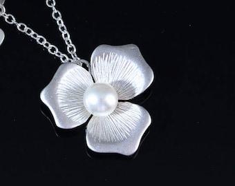 Silver Flower Necklace, Magnolia Flower Pendant necklace, Flower Charm Necklace. Flower Jewelry. Bridesmaids Gift