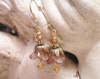 D E L P H I N E  -   Antiqued Brass Czech Glass Floral Earrings