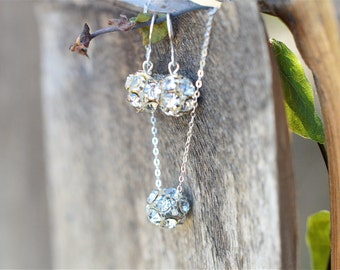 Silver Bridesmaid Jewelry Set, Crystal Bridesmaid Jewelry Set, Sterling Silver Bridesmaid Jewelry Gift Set,