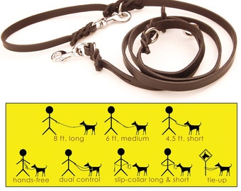 8x8 in BLACK -- an 8 ft. L-O-N-G 8-Way versatile leather dog lead