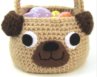 Dog - Easter Basket Crochet Pattern - Trick Or Treat Bag - Pug Puppy Dog PDF INSTANT DOWNLOAD