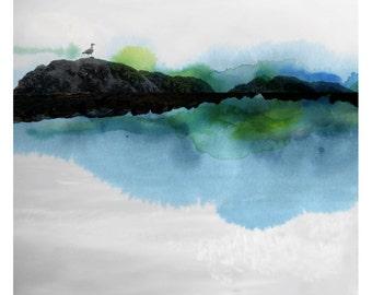 Oiseau (Nature Photography - Fine Art Print - Landscape- Seagull - Rock - WaterColor paints - Black and white - Blue - Green)