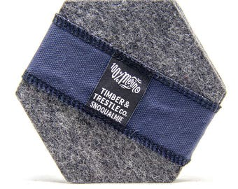 Hexagon Merino Wool Felt Coaster Set– Light Gray – 5MM Thick