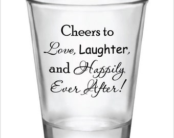 72 Cheers to Love Laughter and Happily Ever After 1.75oz Wedding Favor Shot Glasses