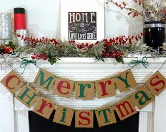 Christmas Banner - Merry Christmas Sign - Merry Christmas Banner - Photo Prop - Holiday Decor - Christmas Decor - Natural Holiday Decor