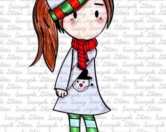 Winter Mia Digital Stamp By Sasayaki Glitter