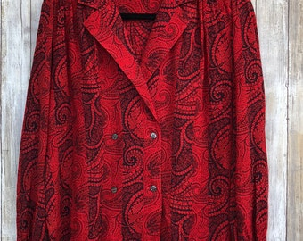 Christian Dior Size 4 Chemises Vintage 80s Red Paisley Blouse