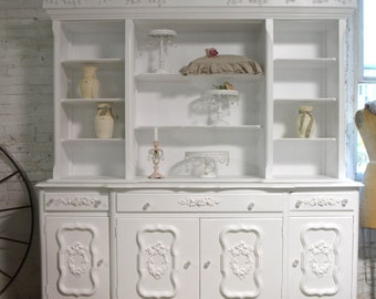 Painted Cottage Chic Shabby White Romantic French China Cabinet CC1053