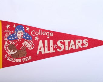 Vintage RARE 1950s College All Stars at Soldier Field Felt Pennant College Football