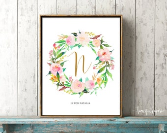 Flower Letter Nursery Print, Letter Personalized Wall Art, Flower Calligraphy Monogram, Floral Wreath, Baby Shower Decoration, Printable Art