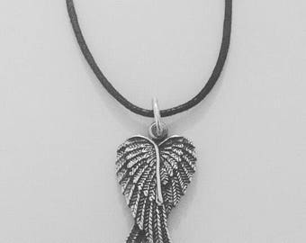 Winged Heart Feather Pendant Necklace