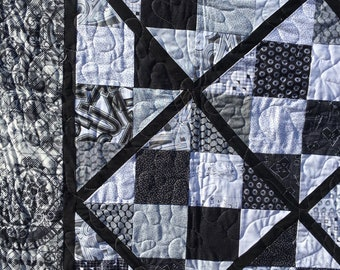 Shades of Gray 4 Patch Lattice, Modern quilt, black and white quilt, twin sized blanket