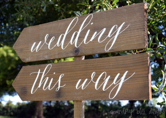 Items similar to Wooden Wedding Signs, Almost There, This Way ...