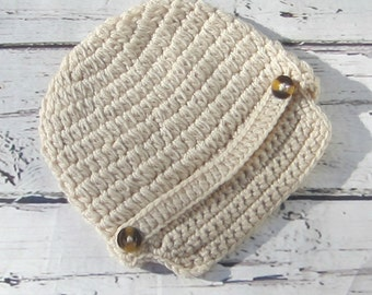 baby boy hat, newsboy, baby crochet hat, boys cap, rustic beige infant, boys crochet hat, newborn, birthday beanie cap, photo prop toddler