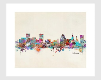 baltimore skyline .modern pop art skylines.Gallery fine art prints .city skylines for home decor.color your world