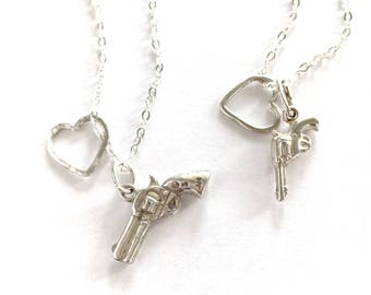 Sterling Silver Gun Heart Necklace. Hand Hammered Heart Necklace. Heart Protection Valentines Day Gift Gun Charm Necklace