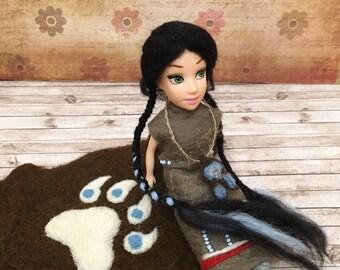 Indian doll - American Native Navajo Handmade Wool Bear Skin Felt Wet Felting Barbie Blythe USA Authentic