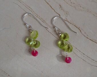 Peridot and ruby sterling silver earrings