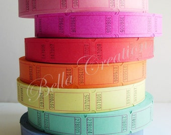 Blank Carnival Tickets - 200 Tickets, 8 Colors