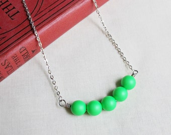 Neon Green Bar Necklace - Swarovski Crystal Pearl Jewelry Jewellery - Silver Fluorescent For Teens Women - Summer Beach Gift Silver Beaded