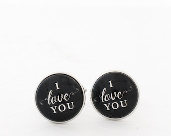 I Love You Cufflinks, Gift for Him, Long Distance Boyfriend Gift From Girlfriend, 1st Anniversary Gift For Husband, Steel Anniversary Gift