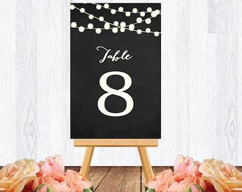 Wedding table numbers sign, chalkboard string light, DIY modern printable sign, wedding seating number, INSTANT DOWNLOAD