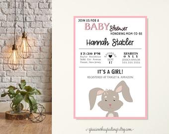 Bunny Rabbit Baby Shower Invitations, Peek A Boo Bunny Shower Invites, Some Bunny Special Baby Shower Invitation, Girl Baby Shower