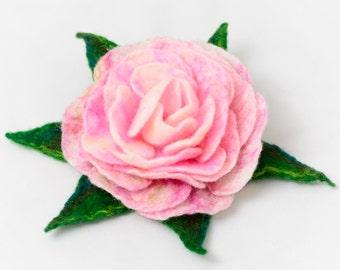Flower Brooch - Felt Brooch - Felted Rose Brooch - Handmade Wool Rose Brooch