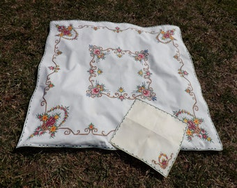 Beautiful small cotton tablecloth with tons of machine cross stitch embroidery - one napkin