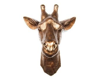 Giraffe Head Wall Mount - Faux Taxidermy - Metallic Bronze Giraffe Head Wall Decor - African Safari Wall Decor - Baby Nursery Decor G09