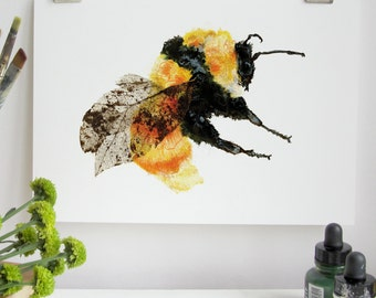 British Bumble Bee Illustration Art Print - Great Yellow Bumble Bee